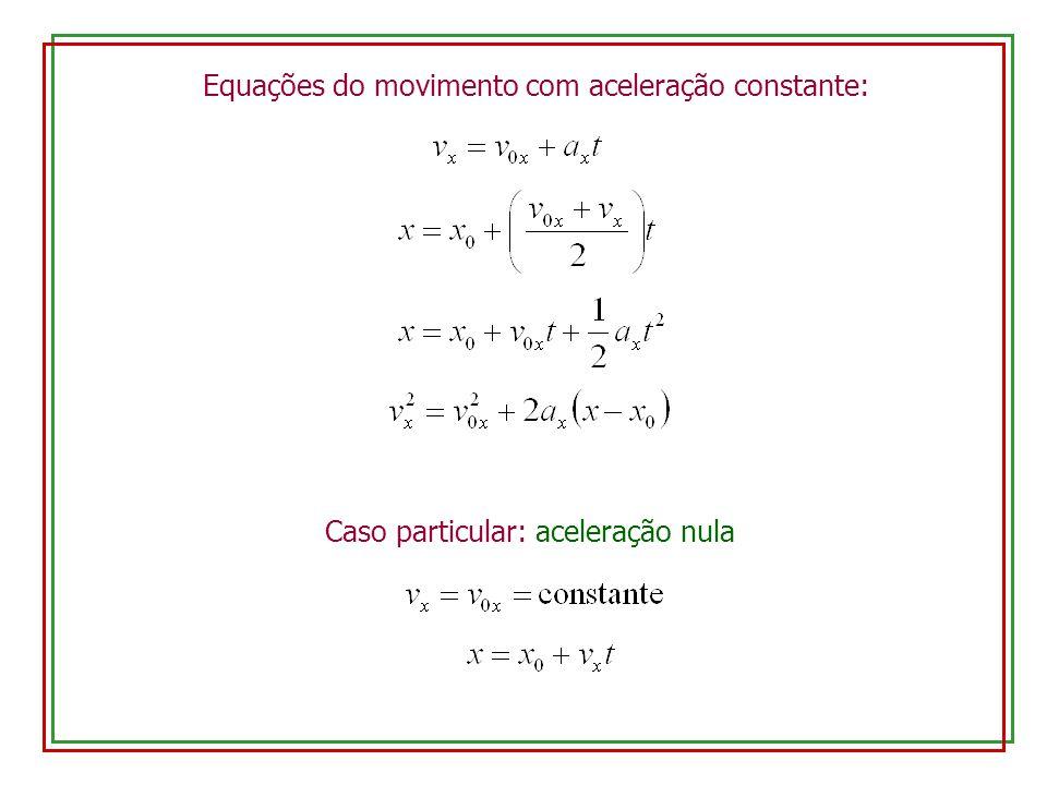 Equações do movimento com aceleração constante: Caso particular: aceleração nula