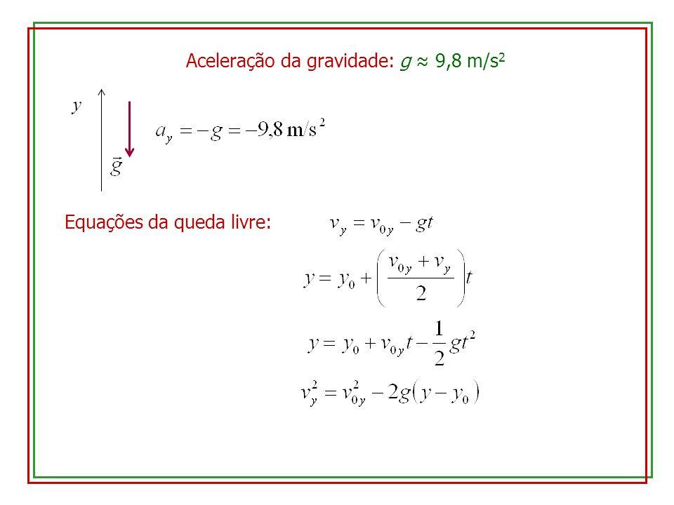 Aceleração da gravidade: g 9,8 m/s 2 y Equações da queda livre: