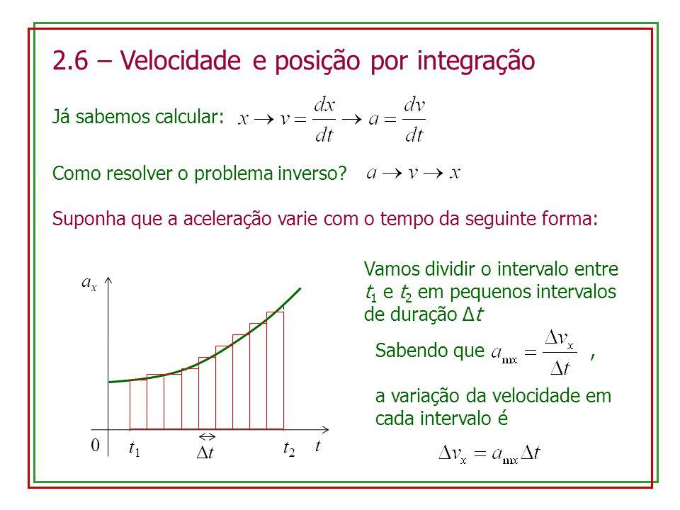 2.6 – Velocidade e posição por integração Já sabemos calcular: Como resolver o problema inverso? Suponha que a aceleração varie com o tempo da seguint