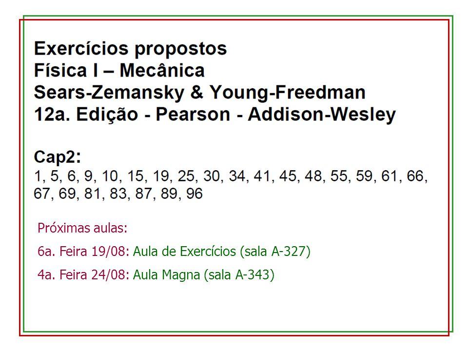 Próximas aulas: 6a. Feira 19/08: Aula de Exercícios (sala A-327) 4a. Feira 24/08: Aula Magna (sala A-343)