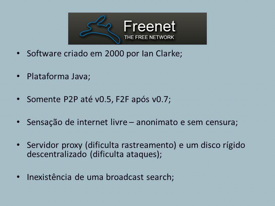 Software criado em 2000 por Ian Clarke; Plataforma Java; Somente P2P até v0.5, F2F após v0.7; Sensação de internet livre – anonimato e sem censura; Se