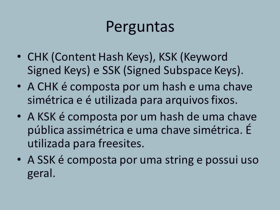 Perguntas CHK (Content Hash Keys), KSK (Keyword Signed Keys) e SSK (Signed Subspace Keys). A CHK é composta por um hash e uma chave simétrica e é util