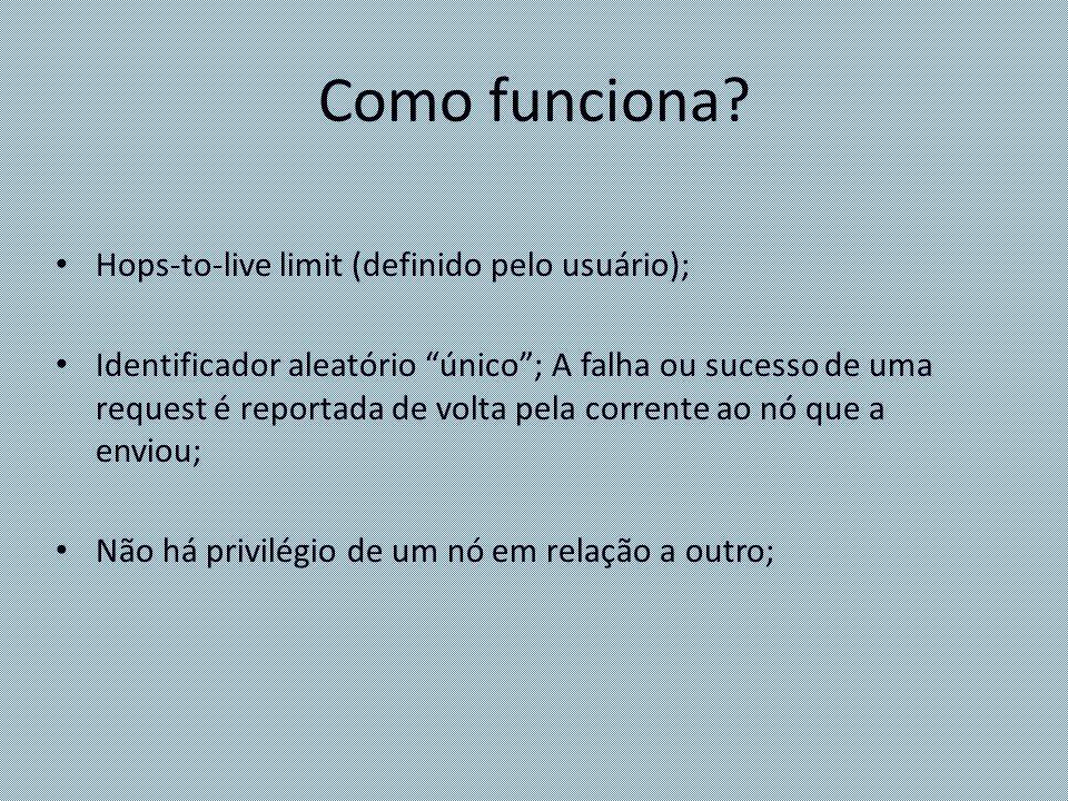 Como funciona? Hops-to-live limit (definido pelo usuário); Identificador aleatório único; A falha ou sucesso de uma request é reportada de volta pela