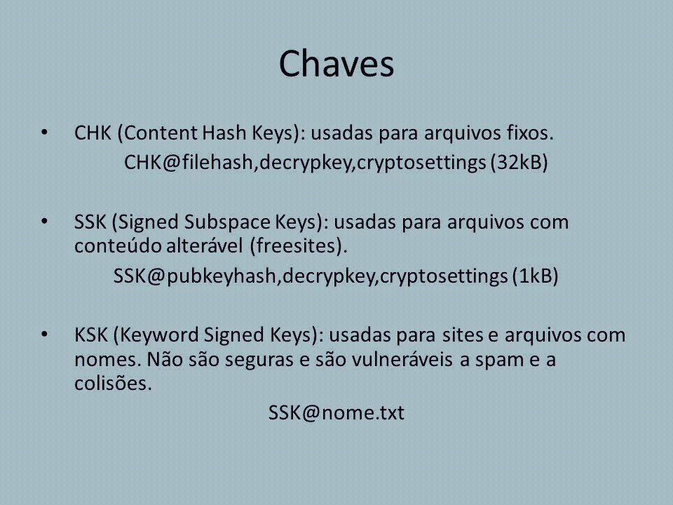 Chaves CHK (Content Hash Keys): usadas para arquivos fixos. CHK@filehash,decrypkey,cryptosettings (32kB) SSK (Signed Subspace Keys): usadas para arqui