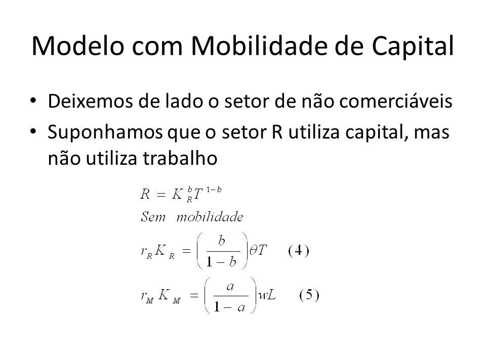 Modelo com Mobilidade de Capital Deixemos de lado o setor de não comerciáveis Suponhamos que o setor R utiliza capital, mas não utiliza trabalho
