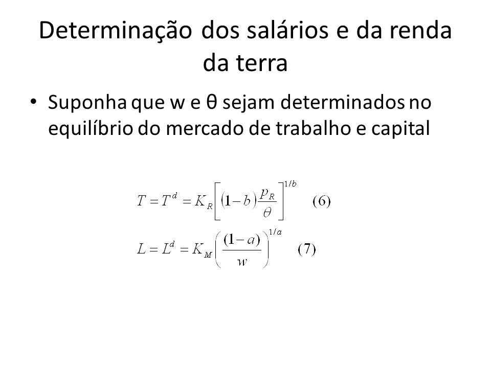 Determinação dos salários e da renda da terra Suponha que w e θ sejam determinados no equilíbrio do mercado de trabalho e capital