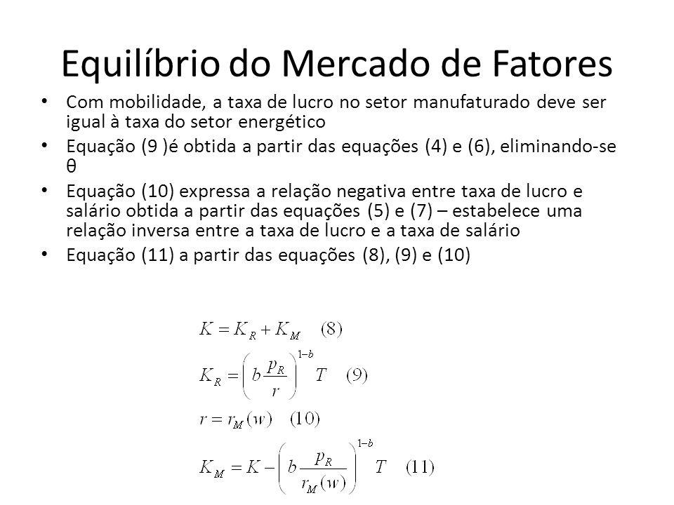 Equilíbrio do Mercado de Fatores Com mobilidade, a taxa de lucro no setor manufaturado deve ser igual à taxa do setor energético Equação (9 )é obtida