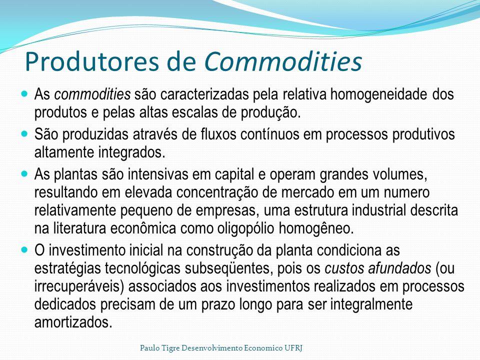 Produtores de Commodities As commodities são caracterizadas pela relativa homogeneidade dos produtos e pelas altas escalas de produção. São produzidas