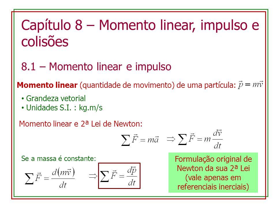 Capítulo 8 – Momento linear, impulso e colisões 8.1 – Momento linear e impulso Momento linear (quantidade de movimento) de uma partícula: Grandeza vet