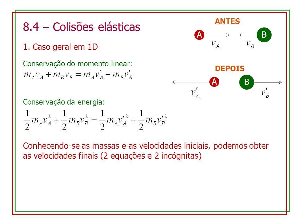 8.4 – Colisões elásticas 1. Caso geral em 1D AB ANTES A B DEPOIS Conservação do momento linear: Conservação da energia: Conhecendo-se as massas e as v