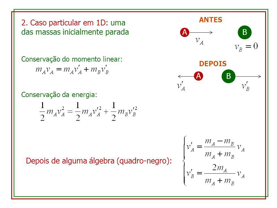2. Caso particular em 1D: uma das massas inicialmente parada AB ANTES A B DEPOIS Conservação do momento linear: Conservação da energia: Depois de algu