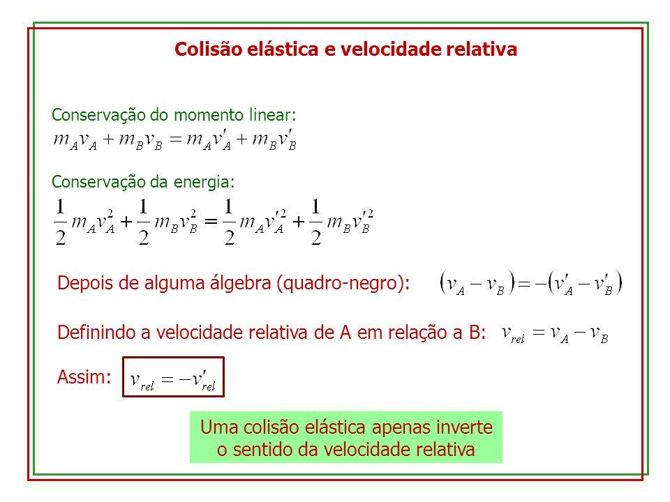 Colisão elástica e velocidade relativa Conservação do momento linear: Conservação da energia: Depois de alguma álgebra (quadro-negro): Definindo a vel