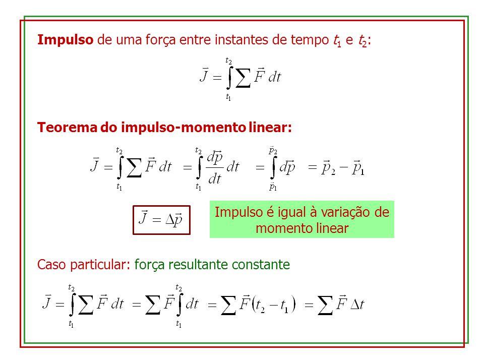 Impulso de uma força entre instantes de tempo t 1 e t 2 : Teorema do impulso-momento linear: Impulso é igual à variação de momento linear Caso particu