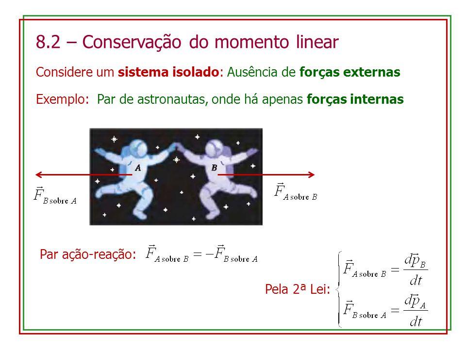 Assim: Definindo o momento linear total: Temos: Na ausência de forças externas (sistema isolado), ou se a resultante das forças externas for nula, o momento linear total se conserva Lei de Conservação do Momento Linear: Pode ser facilmente generalizada para um número qualquer de partículas É consequência da 3ª Lei de Newton Exemplo: Y&F 8.6