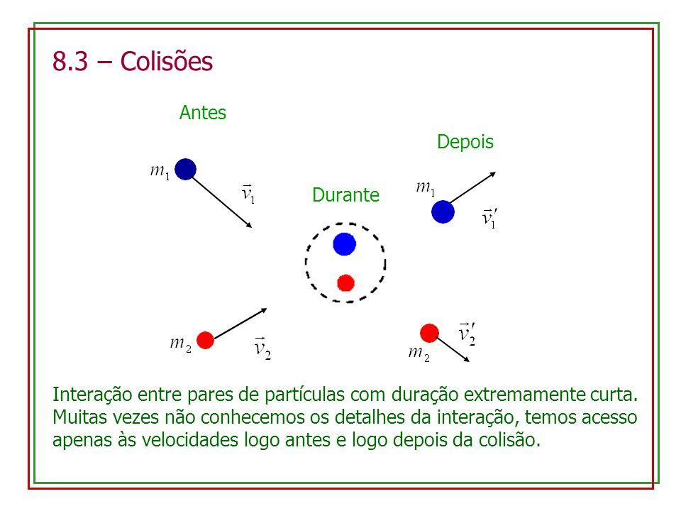 8.3 – Colisões Antes Durante Depois Interação entre pares de partículas com duração extremamente curta. Muitas vezes não conhecemos os detalhes da int