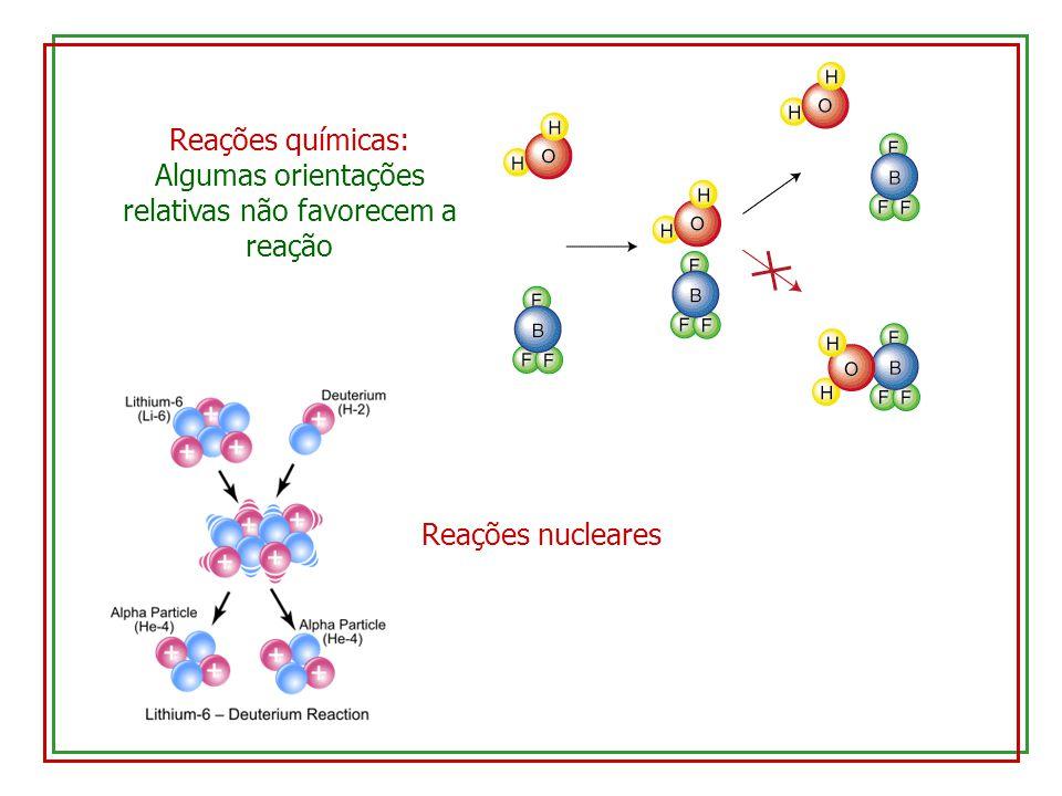 Reações químicas: Algumas orientações relativas não favorecem a reação Reações nucleares