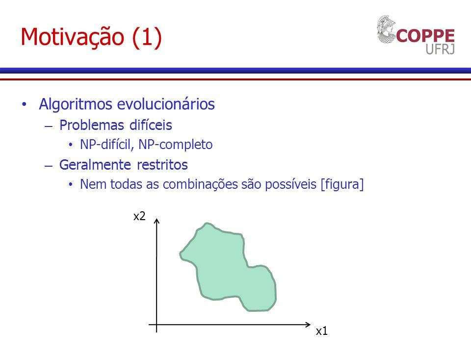 Motivação (1) Algoritmos evolucionários – Problemas difíceis NP-difícil, NP-completo – Geralmente restritos Nem todas as combinações são possíveis [figura] x1 x2