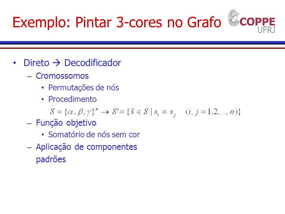 Exemplo: Pintar 3-cores no Grafo Direto Decodificador – Cromossomos Permutações de nós Procedimento – Função objetivo Somatório de nós sem cor – Aplicação de componentes padrões