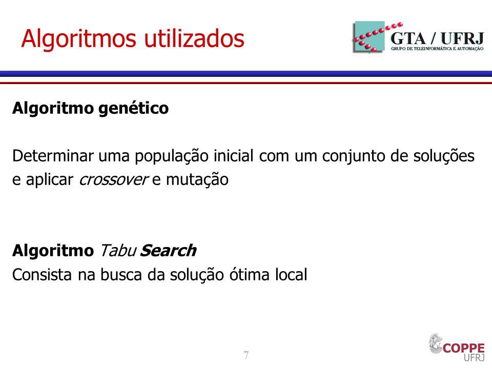 7 Algoritmos utilizados Algoritmo genético Determinar uma população inicial com um conjunto de soluções e aplicar crossover e mutação Algoritmo Tabu Search Consista na busca da solução ótima local