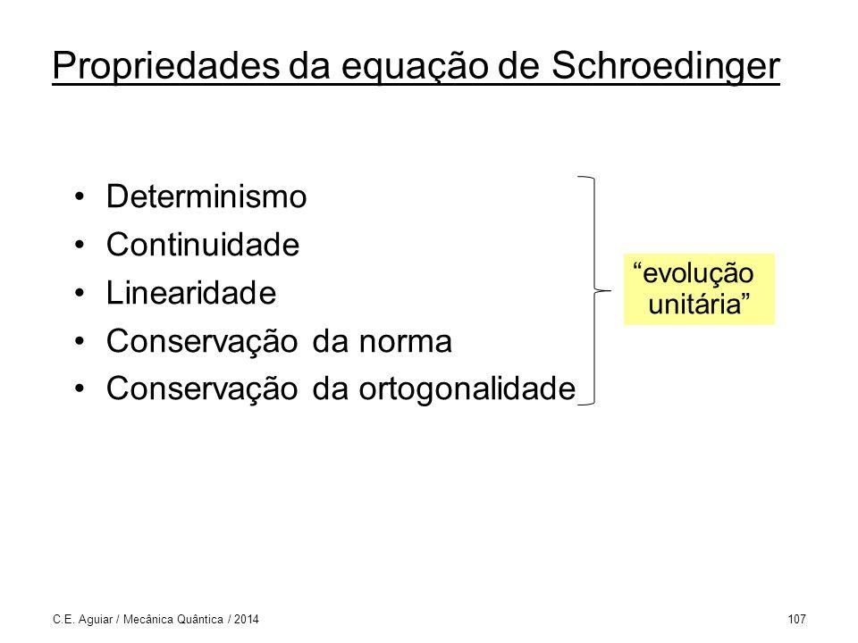 Determinismo Continuidade Linearidade Conservação da norma Conservação da ortogonalidade C.E.