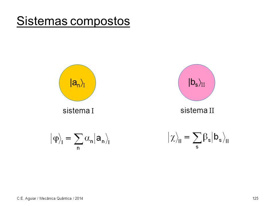 Sistemas compostos C.E. Aguiar / Mecânica Quântica / 2014125 |a n I sistema I |b s II sistema II