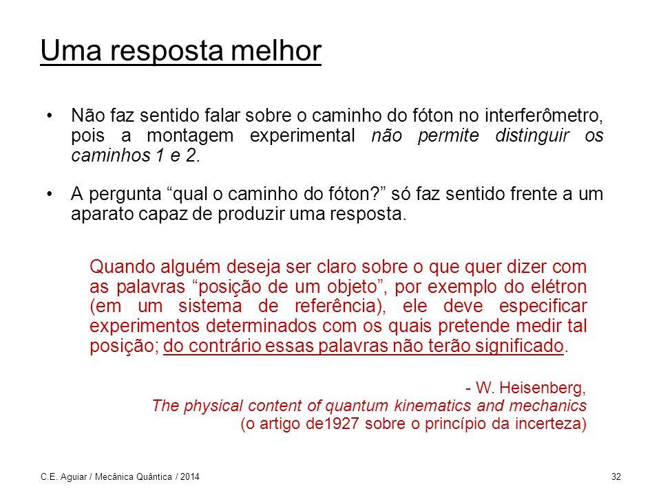 C.E. Aguiar / Mecânica Quântica / 201432 Uma resposta melhor Não faz sentido falar sobre o caminho do fóton no interferômetro, pois a montagem experim