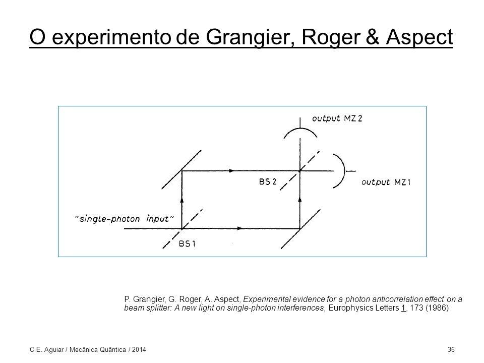 O experimento de Grangier, Roger & Aspect C.E.Aguiar / Mecânica Quântica / 201436 P.