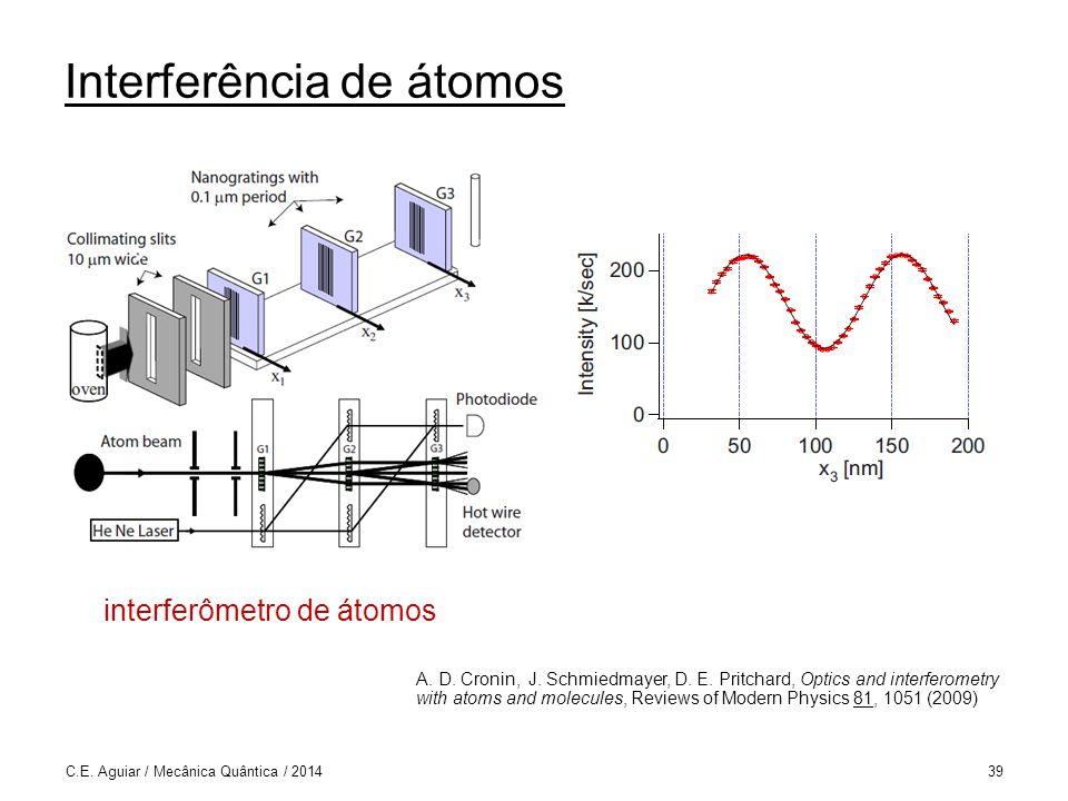 Interferência de átomos C.E.Aguiar / Mecânica Quântica / 201439 interferômetro de átomos A.