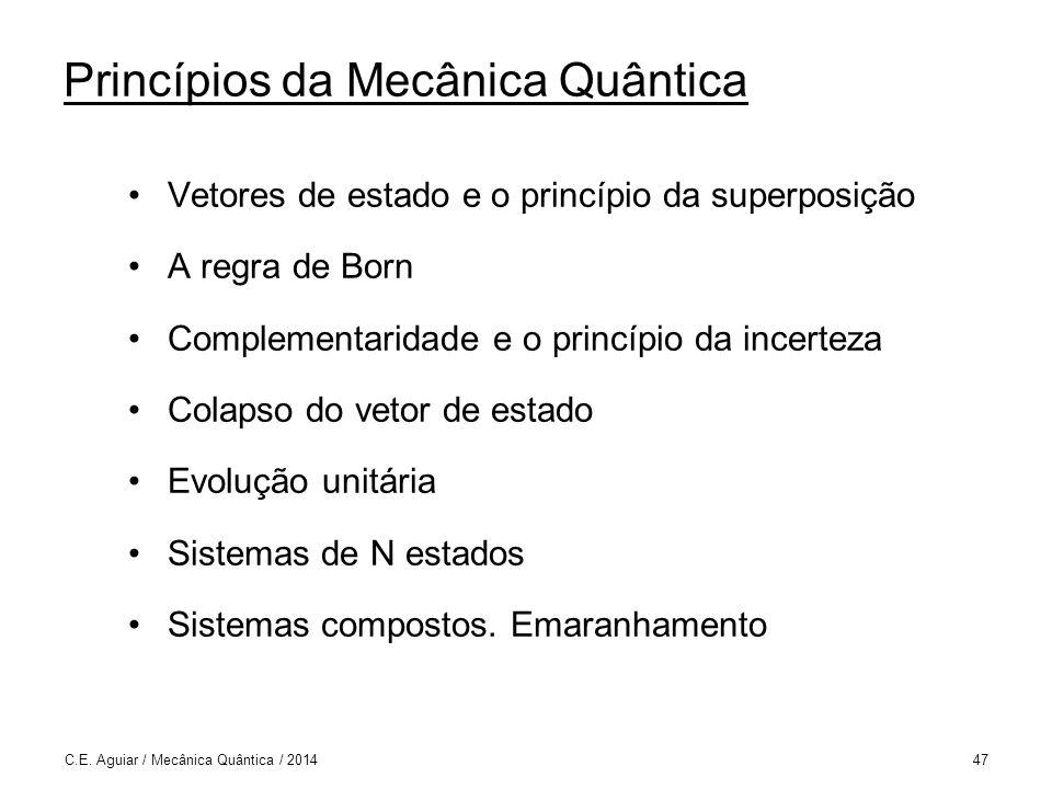 Princípios da Mecânica Quântica Vetores de estado e o princípio da superposição A regra de Born Complementaridade e o princípio da incerteza Colapso do vetor de estado Evolução unitária Sistemas de N estados Sistemas compostos.