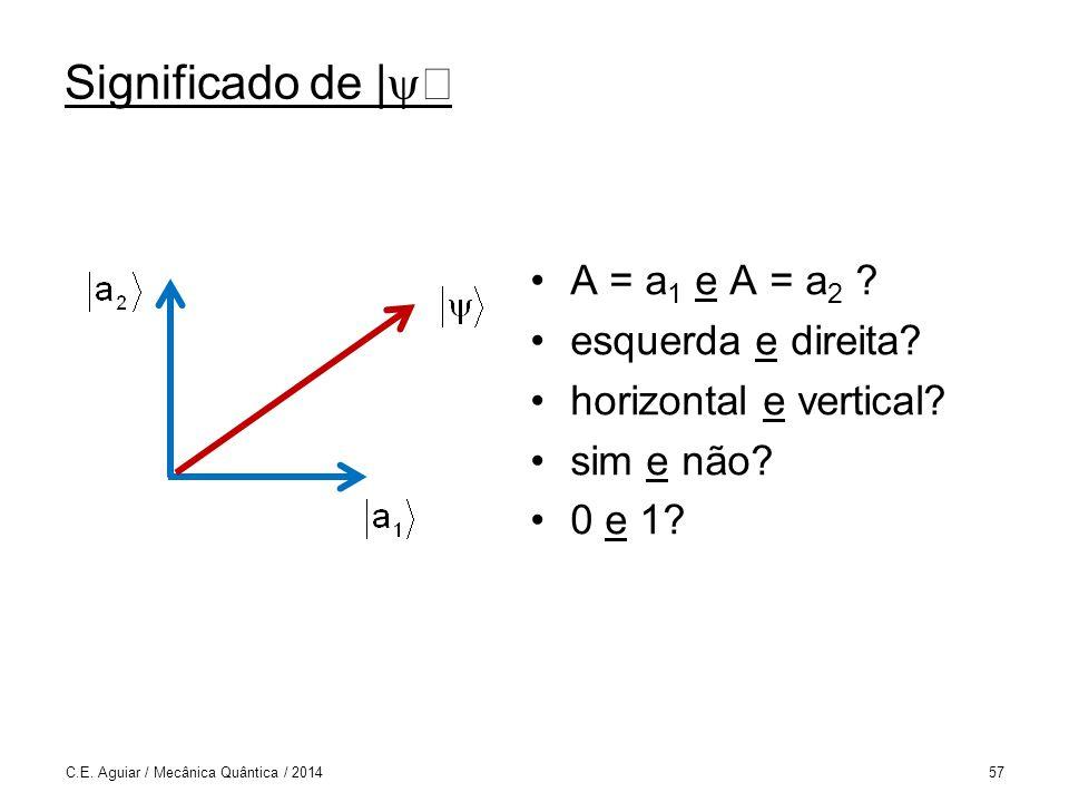 Significado de | A = a 1 e A = a 2 .esquerda e direita.