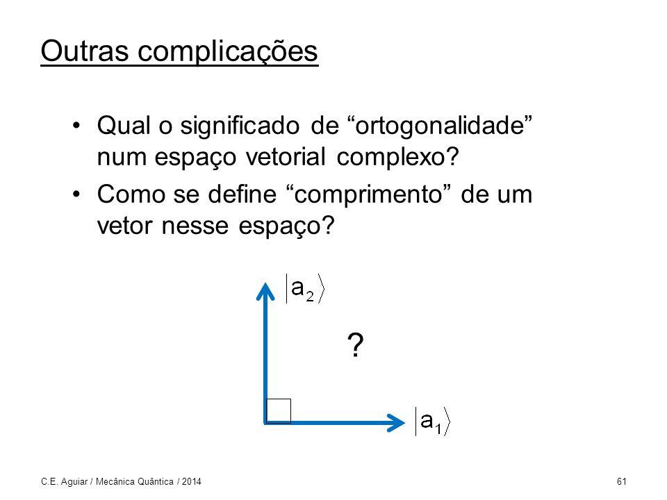 Outras complicações Qual o significado de ortogonalidade num espaço vetorial complexo.
