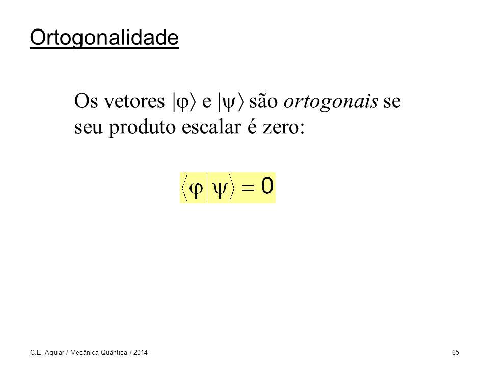 Ortogonalidade Os vetores | e | são ortogonais se seu produto escalar é zero: C.E.