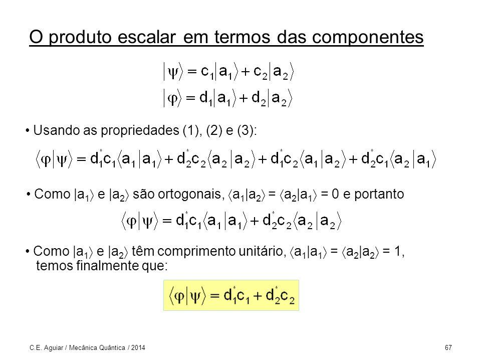 O produto escalar em termos das componentes C.E.