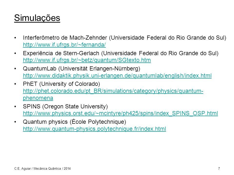 Internet Quantum Physics (IoP) http://quantumphysics.iop.org/ http://quantumphysics.iop.org/ Quantum Mechanics (Leonard Susskind) http://theoreticalminimum.com/courses/quantum-mechanics/2012/winter http://theoreticalminimum.com/courses/quantum-mechanics/2012/winter Quantum Entanglement (Leonard Susskind) http://theoreticalminimum.com/courses/quantum-entanglement/2006/fall http://theoreticalminimum.com/courses/quantum-entanglement/2006/fall Advanced Quantum Mechanics (Leonard Susskind) http://theoreticalminimum.com/courses/advanced-quantum-mechanics/2013/fall http://theoreticalminimum.com/courses/advanced-quantum-mechanics/2013/fall C.E.