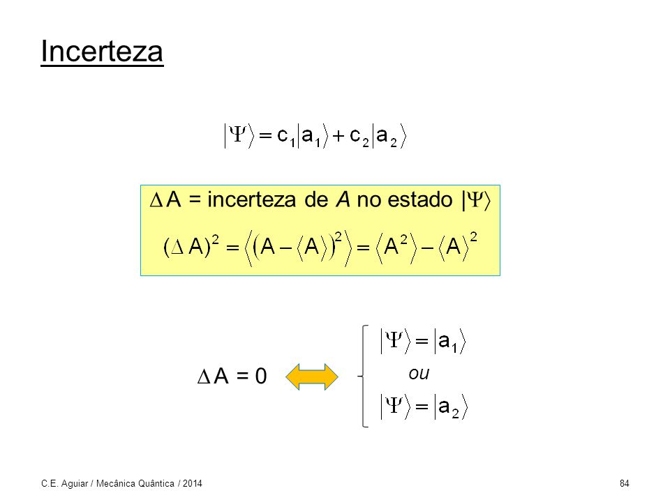 Incerteza C.E. Aguiar / Mecânica Quântica / 201484 A = incerteza de A no estado | ou A = 0