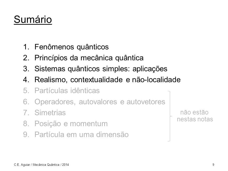C.E. Aguiar / Mecânica Quântica / 201430 Por onde vai o fóton? 1 e 2 ou 1 ou 2 nem 1 nem 2 1 2