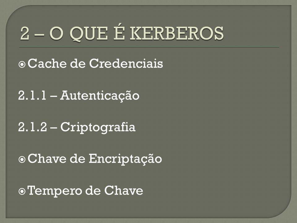 Cache de Credenciais 2.1.1 – Autenticação 2.1.2 – Criptografia Chave de Encriptação Tempero de Chave