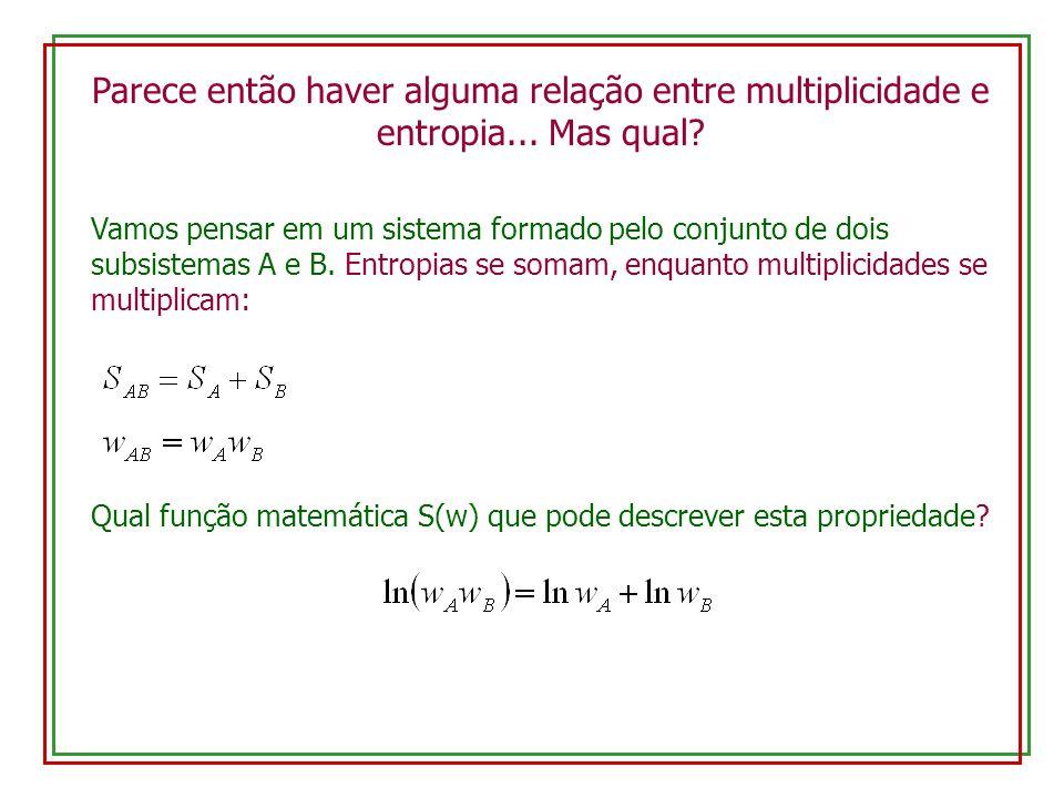 Parece então haver alguma relação entre multiplicidade e entropia... Mas qual? Vamos pensar em um sistema formado pelo conjunto de dois subsistemas A