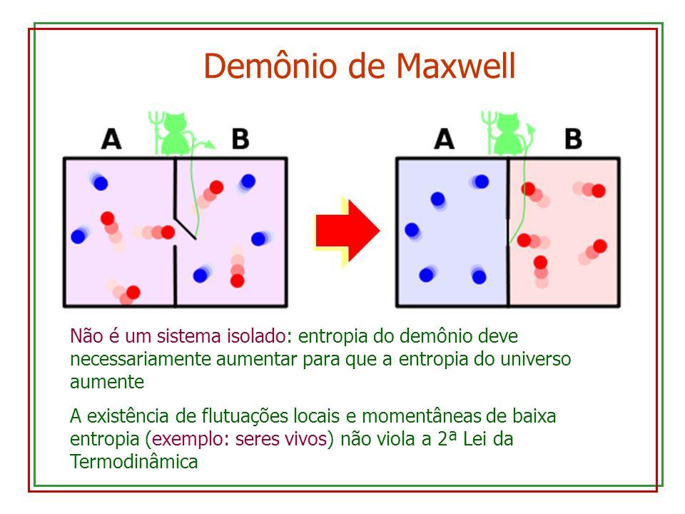 Demônio de Maxwell Não é um sistema isolado: entropia do demônio deve necessariamente aumentar para que a entropia do universo aumente A existência de