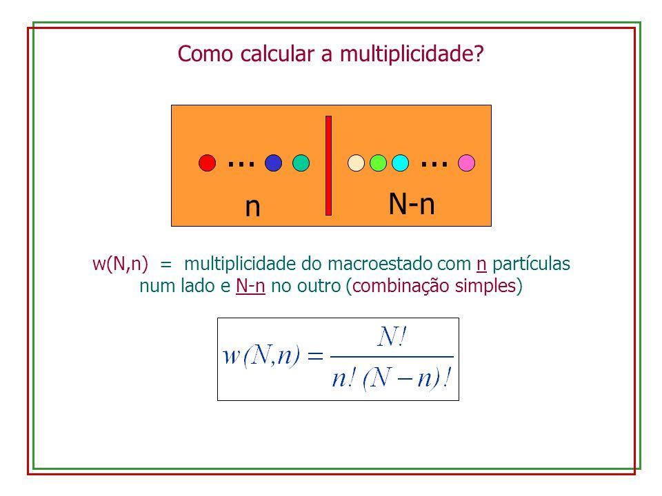 Como calcular a multiplicidade? w(N,n) = multiplicidade do macroestado com n partículas num lado e N-n no outro (combinação simples) N-n n...