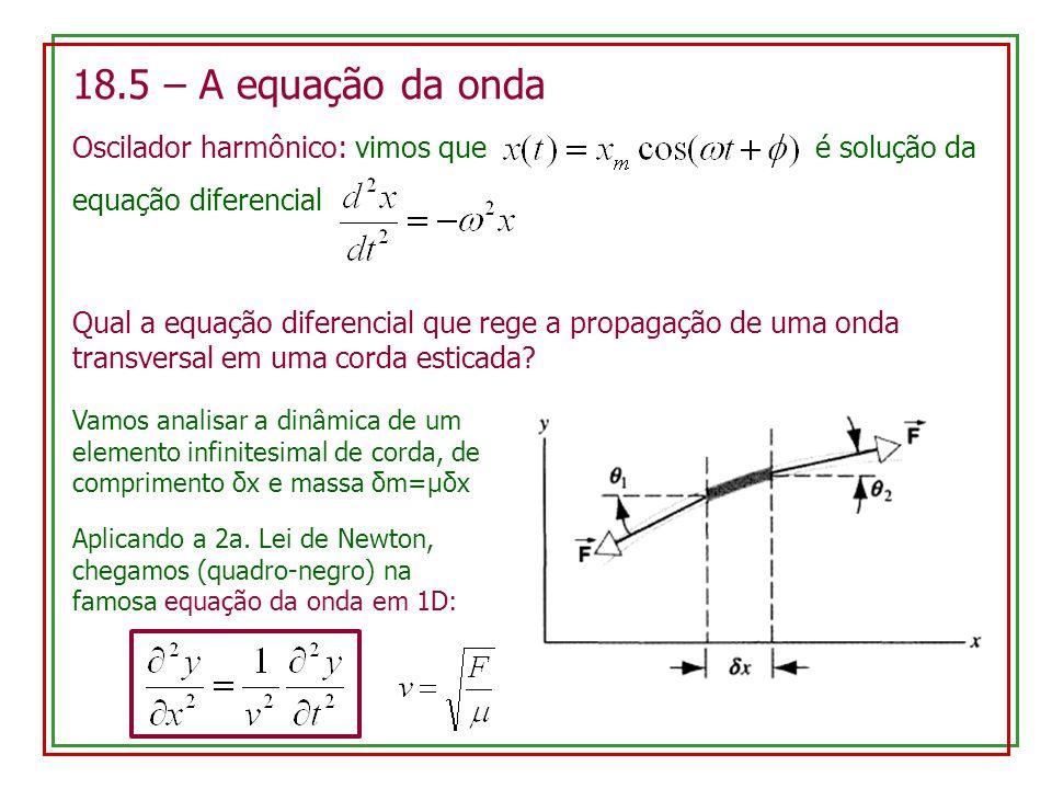 18.5 – A equação da onda Oscilador harmônico: vimos que é solução da equação diferencial Qual a equação diferencial que rege a propagação de uma onda
