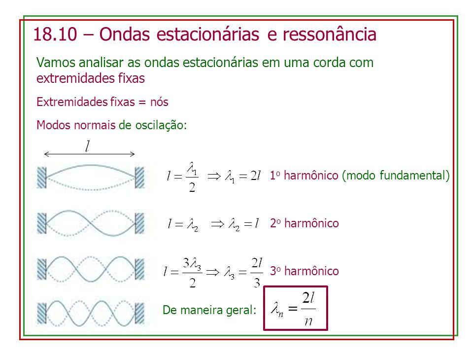 18.10 – Ondas estacionárias e ressonância Vamos analisar as ondas estacionárias em uma corda com extremidades fixas Extremidades fixas = nós Modos nor