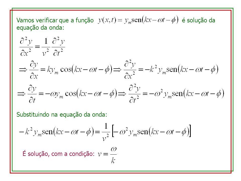 Vamos verificar que a função é solução da equação da onda: Substituindo na equação da onda: É solução, com a condição: