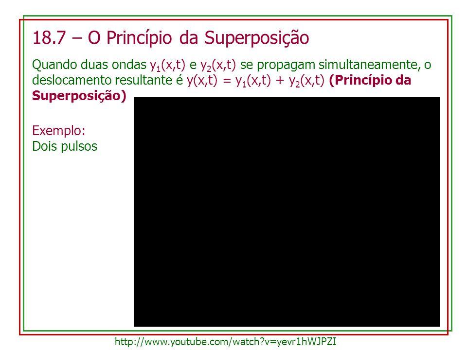 18.7 – O Princípio da Superposição Quando duas ondas y 1 (x,t) e y 2 (x,t) se propagam simultaneamente, o deslocamento resultante é y(x,t) = y 1 (x,t)