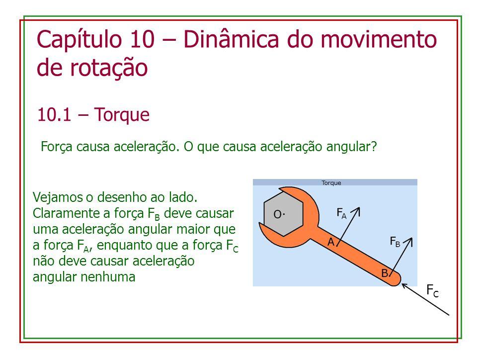 Capítulo 10 – Dinâmica do movimento de rotação 10.1 – Torque Força causa aceleração.