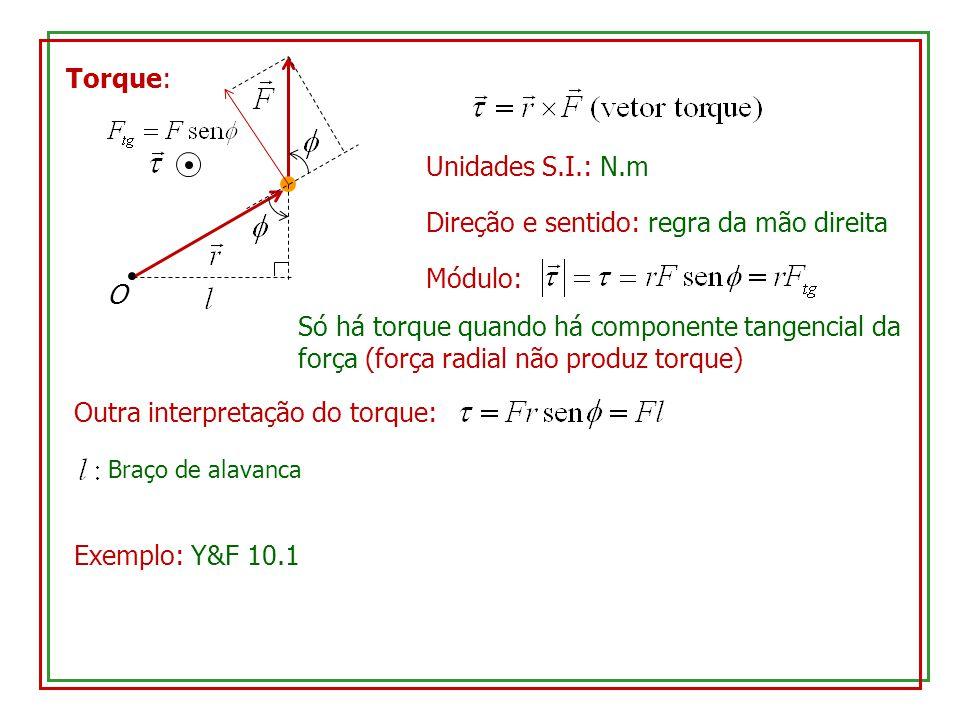 Torque: Unidades S.I.: N.m O Direção e sentido: regra da mão direita Módulo: Só há torque quando há componente tangencial da força (força radial não produz torque) Outra interpretação do torque: Braço de alavanca Exemplo: Y&F 10.1
