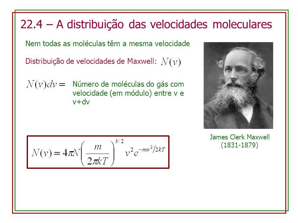22.4 – A distribuição das velocidades moleculares Nem todas as moléculas têm a mesma velocidade Número de moléculas do gás com velocidade (em módulo)