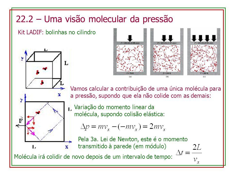 22.2 – Uma visão molecular da pressão Kit LADIF: bolinhas no cilindro Vamos calcular a contribuição de uma única molécula para a pressão, supondo que
