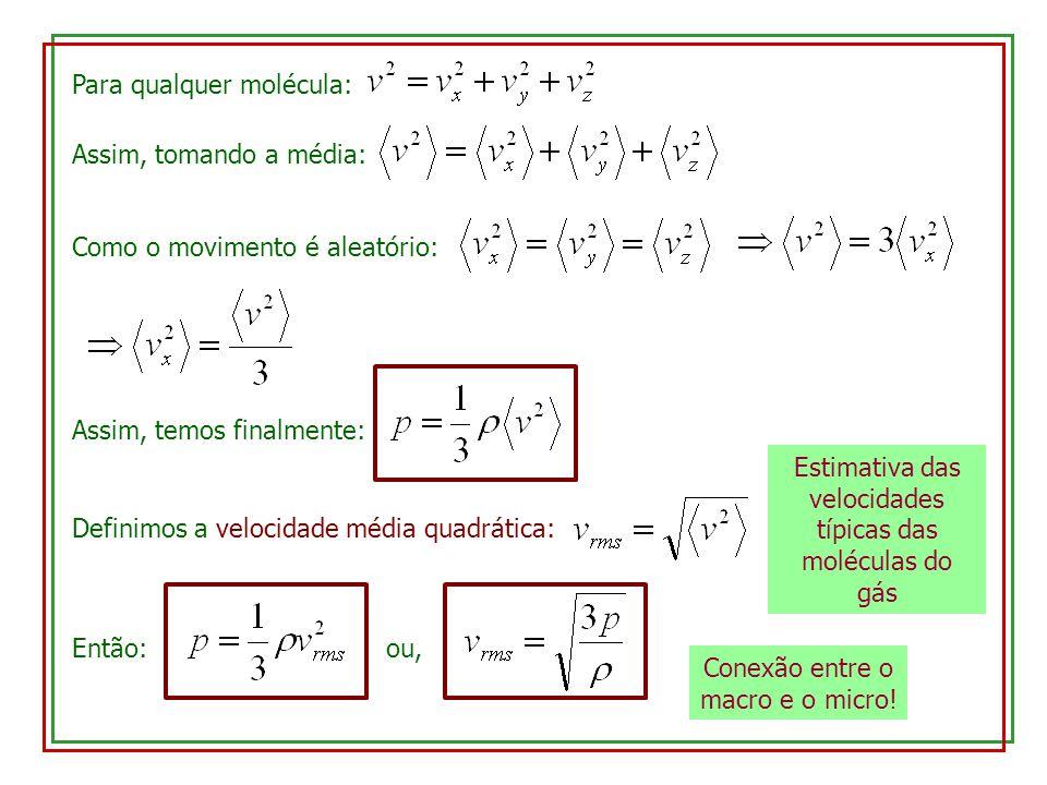 Para qualquer molécula: Assim, tomando a média: Como o movimento é aleatório: Assim, temos finalmente: Definimos a velocidade média quadrática: Então: