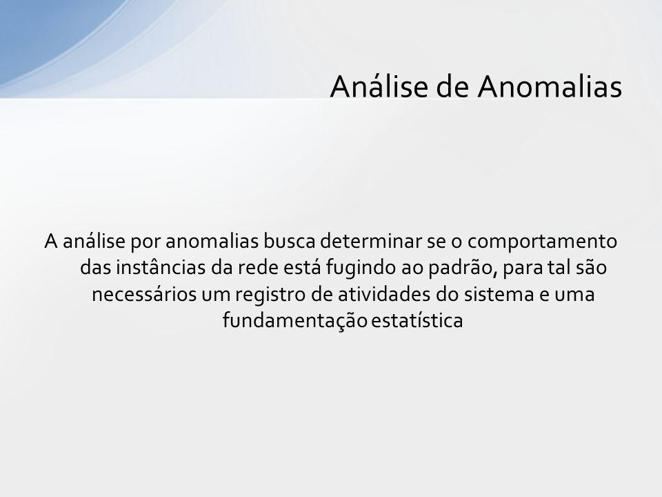 A análise por anomalias busca determinar se o comportamento das instâncias da rede está fugindo ao padrão, para tal são necessários um registro de ati